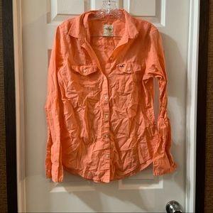 Hollister Bright Orange Cotton Button Up size S